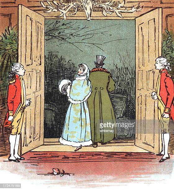 Regency era people at the door with footmen in attendance