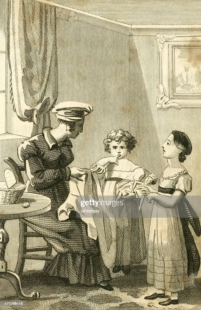 Regency mother and children (c1830 engraving) : stock illustration