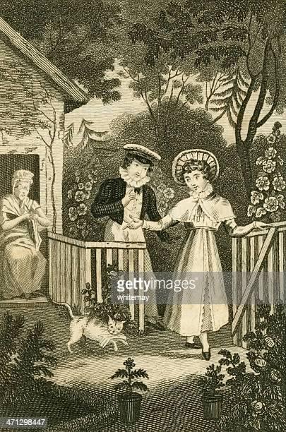 illustrations, cliparts, dessins animés et icônes de regency personnes dans un jardin (c1830 illustration - assistante maternelle