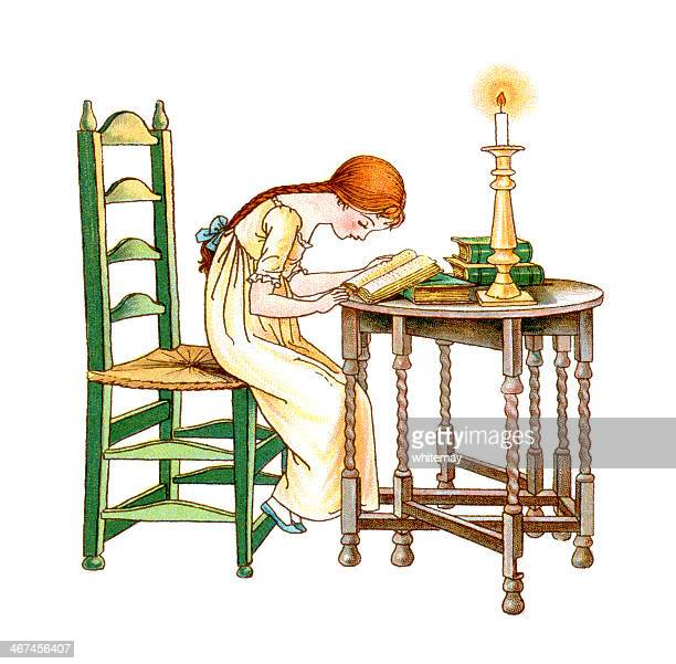 regency period girl reading by candlelight - braided hair stock illustrations, clip art, cartoons, & icons