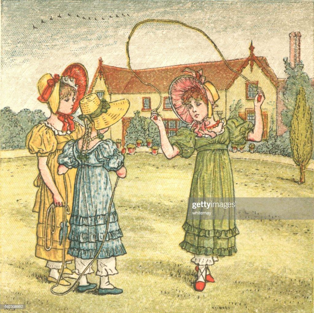 Regency style girls skipping in a summer garden : Stock Illustration