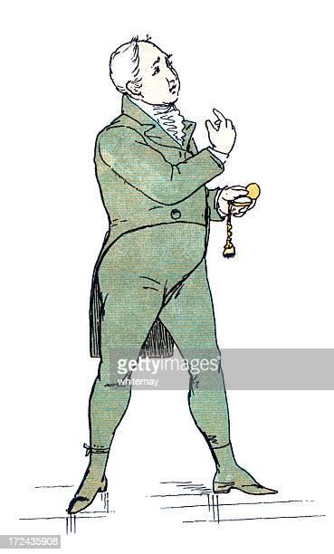 ilustraciones, imágenes clip art, dibujos animados e iconos de stock de estilo regencia hombre mirando en el tiempo y hacer señas - reloj de bolsillo