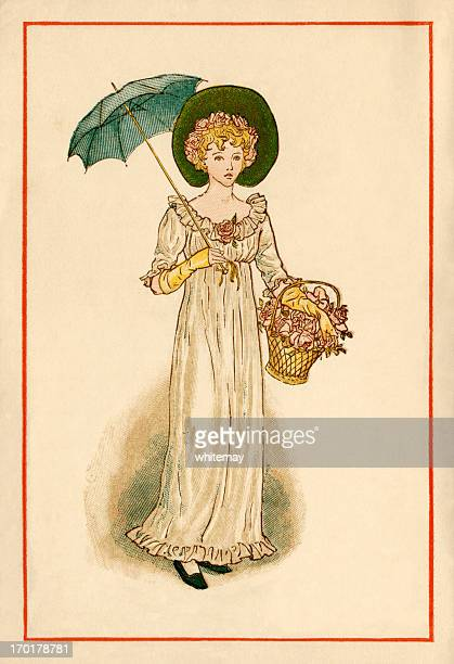 regency-style young woman - kate greenaway, 1884 - bonnet stock illustrations, clip art, cartoons, & icons