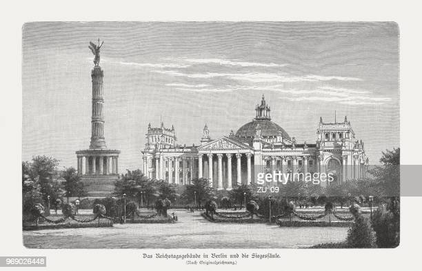 Reichstag building and Victory Column, Berlin, Germany, woodcut, published 1897