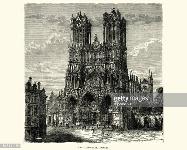reims cathedral, 19th century - champagne region stock illustrations, clip art, cartoons, & icons