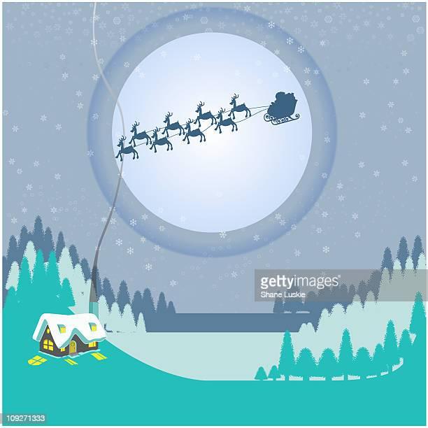 Reindeer pulling Santas sleigh