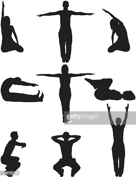 relaxation yoga men and women - touching toes stock illustrations, clip art, cartoons, & icons