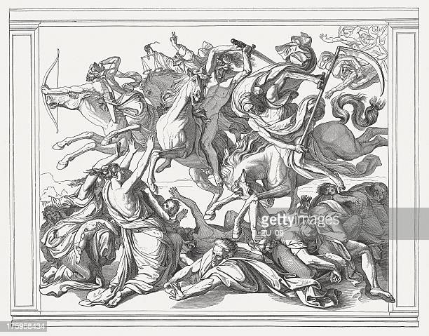 release of the four riders of the apocalypse (revelation 6) - judgment day apocalypse stock illustrations, clip art, cartoons, & icons