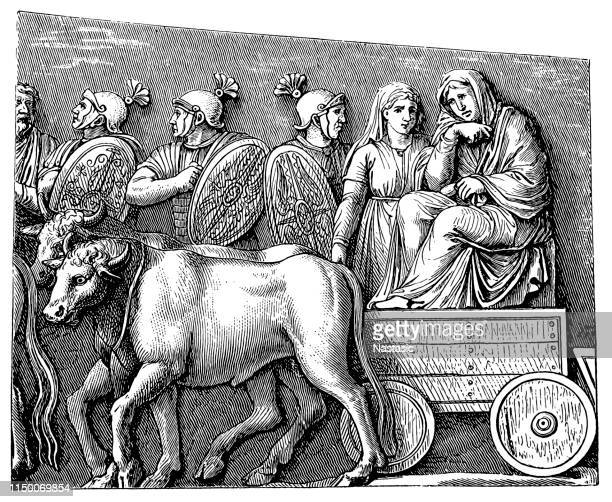 relief at the victory column marcus aurelius. a germanic wagon pulled by cattle - bas relief stock illustrations
