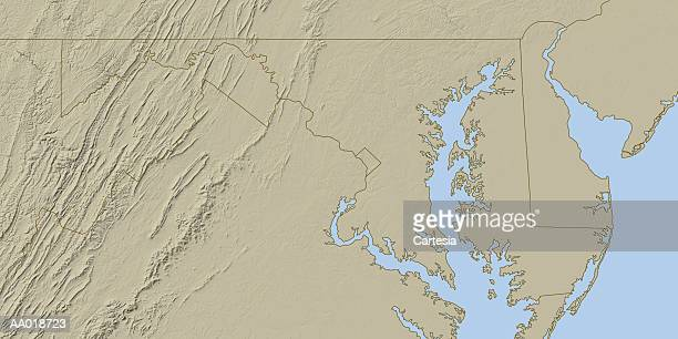 relief map of maryland - delaware bay stock illustrations, clip art, cartoons, & icons