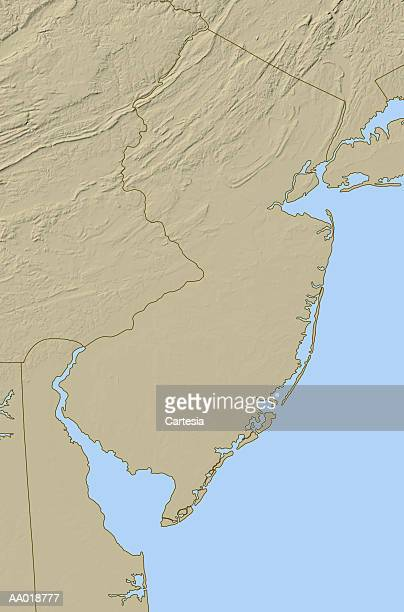 relief map of new jersey - delaware bay stock illustrations, clip art, cartoons, & icons