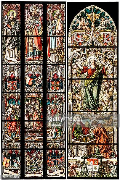 religion motives on stained glass - medieval queen crown stock illustrations