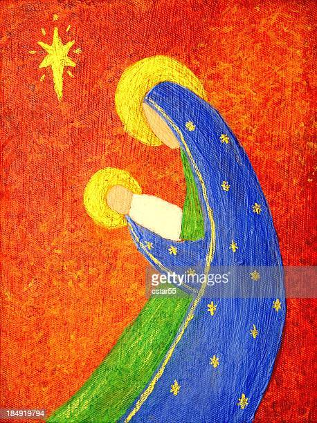 Religious: Abstract Christmas Nativity Art Painting
