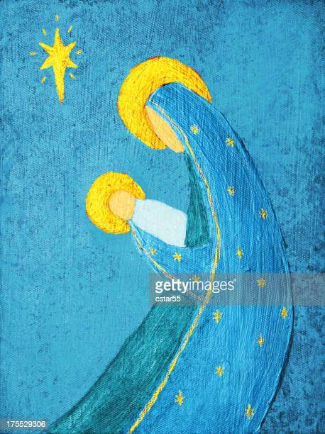 religious: abstract christmas nativity blue and yellow art painting - nativity scene stock illustrations