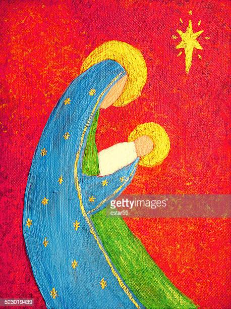 religious: abstract christmas nativity with madonna and jesus art painting - virgin mary stock illustrations, clip art, cartoons, & icons