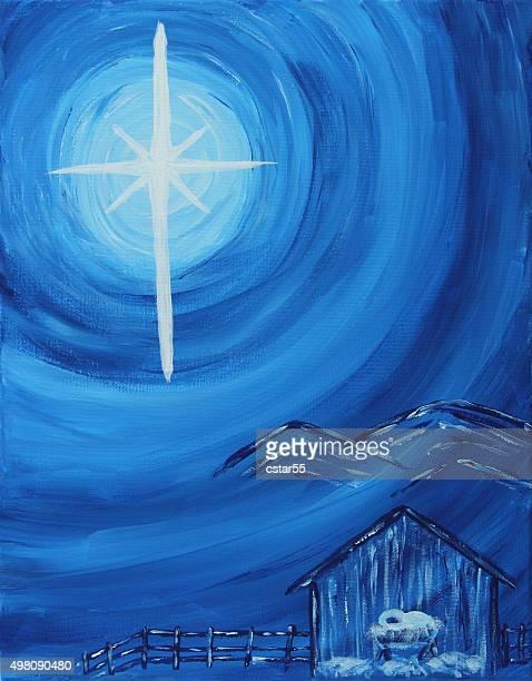 religious: christmas blue and white nativity art painting - nativity scene stock illustrations, clip art, cartoons, & icons