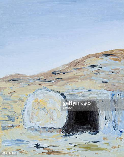 religious: easter empty tomb with rock rolled away art painting - empty tomb jesus stock illustrations