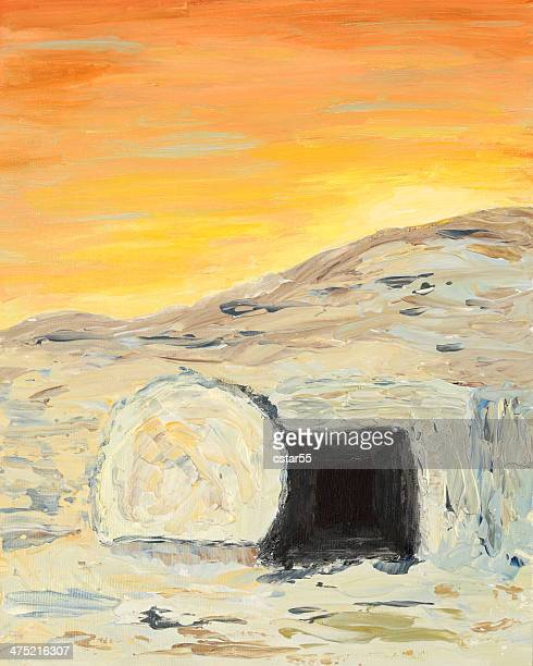 religious: easter sunrise and empty tomb art painting - jesus tomb stock illustrations