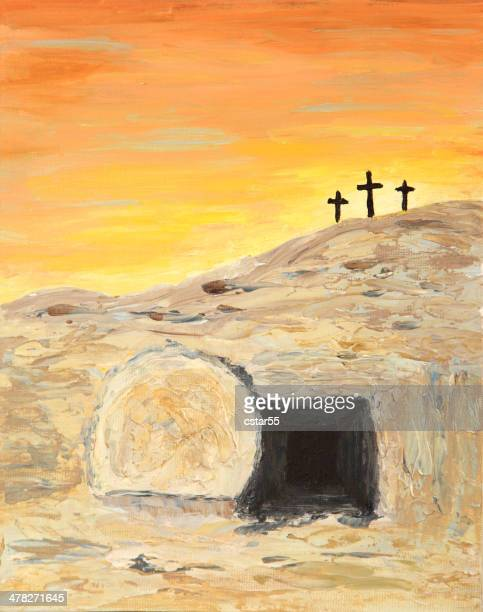 religious: easter sunrise and empty tomb art painting with crosses - tomb stock illustrations