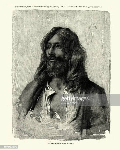 religious mendicant of persia, 19th century - iranian culture stock illustrations, clip art, cartoons, & icons