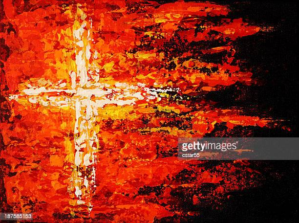Religious painted cross on fire in red