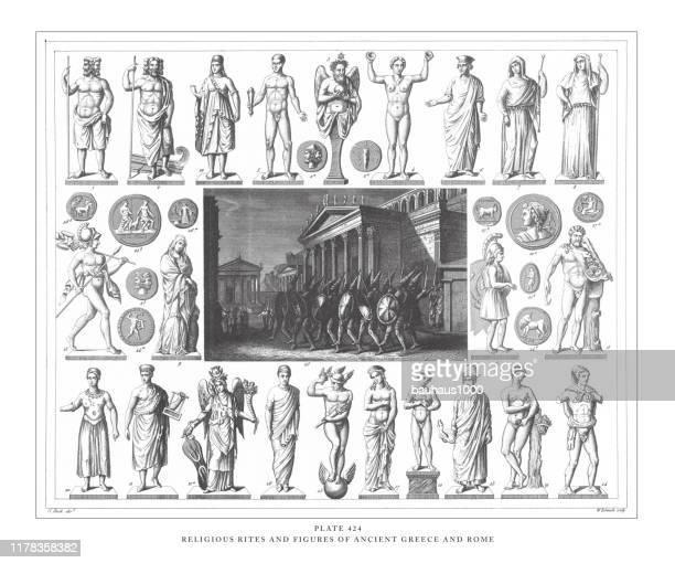 religious rites and figures of ancient greece and rome engraving antique illustration, published 1851 - roman goddess stock illustrations