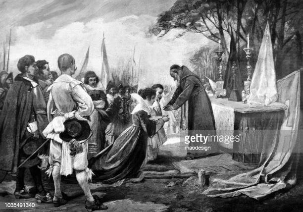 religious scene of blessing the bride and groom in front of a priest - 1895 - religious blessing stock illustrations