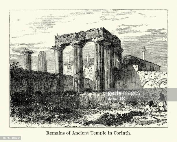 remains of ancient greek temple, corinth - corinthian stock illustrations, clip art, cartoons, & icons