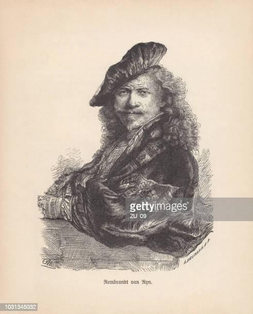 Rembrandt Harmensz. van Rijn, Self-Portrait, wood engraving, published in 1888