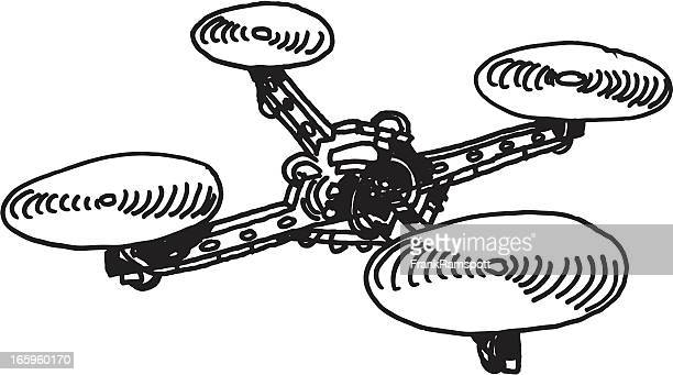 remote controlled quadcopter drawing - drone stock illustrations, clip art, cartoons, & icons