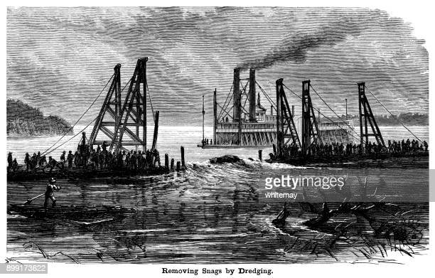 Removing snags by dredging in the Mississippi River