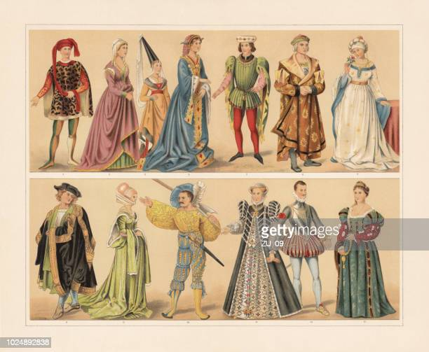stockillustraties, clipart, cartoons en iconen met renaissance cosumes (15e en 16e eeuw), chromolithograph, gepubliceerd in 1897 - koningschap