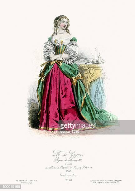 renaissance fashion - francoise-marguerite de sevigne - 17th century stock illustrations, clip art, cartoons, & icons