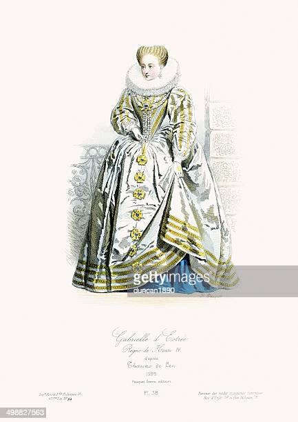 renaissance fashion - gabrielle d'estrees - 1600s stock illustrations