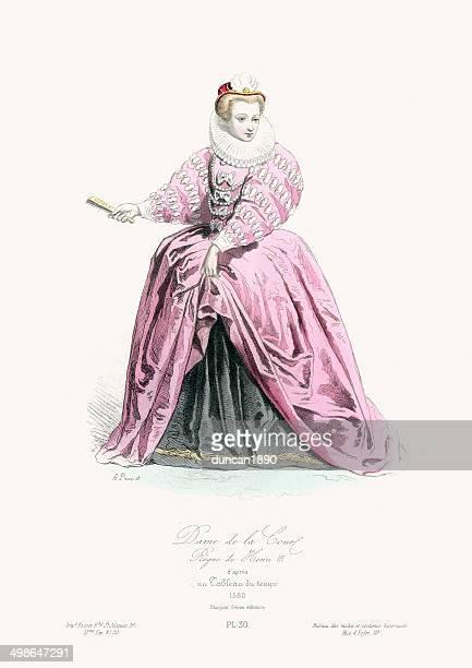 renaissance fashion - lady of the court - neck ruff stock illustrations