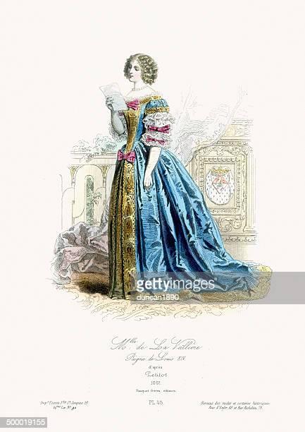 renaissance fashion - louise de la valliere - 1600s stock illustrations
