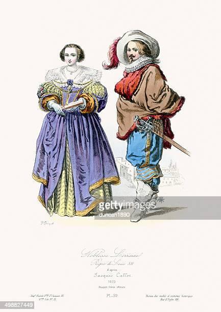 renaissance fashion - nobles of lorraine - 1600s stock illustrations