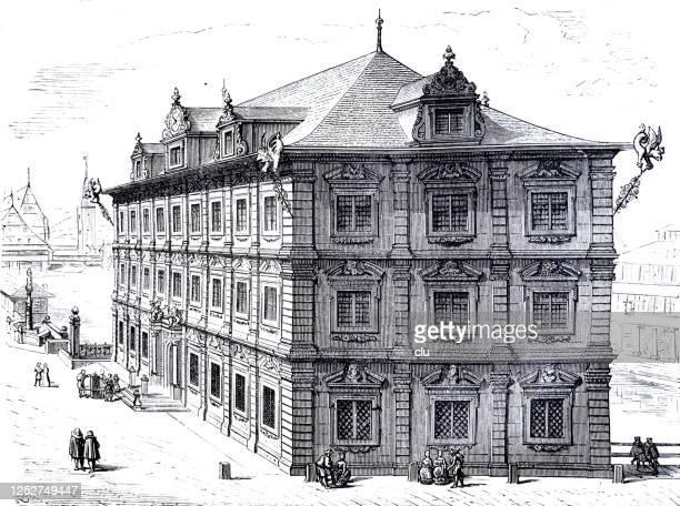 renaissance in switzerland: townhall in zurich - zurich stock illustrations