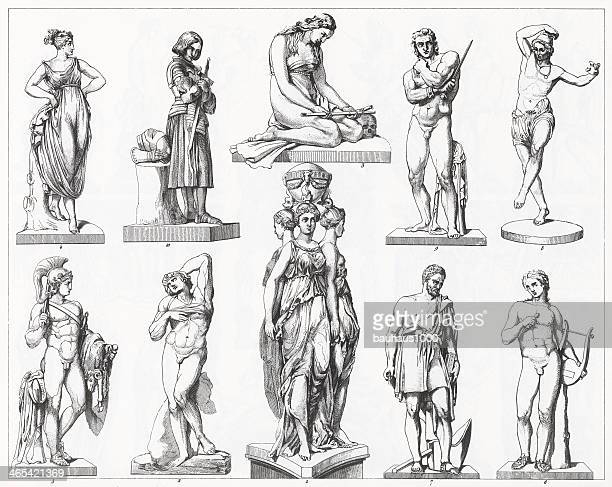 renaissance, mannerist and neoclassic sculpture - greek people stock illustrations, clip art, cartoons, & icons