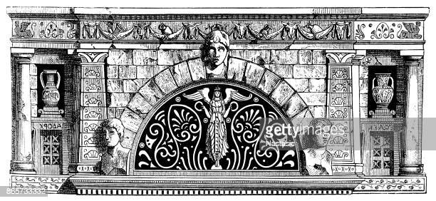 renaissance ornament frame with italian motifs - architectural feature stock illustrations, clip art, cartoons, & icons