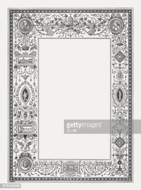 Renaissance ornament frame with Roman motifs, wood engraving, published 1884
