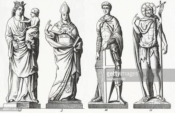 renaissance sculpture - bishop clergy stock illustrations, clip art, cartoons, & icons