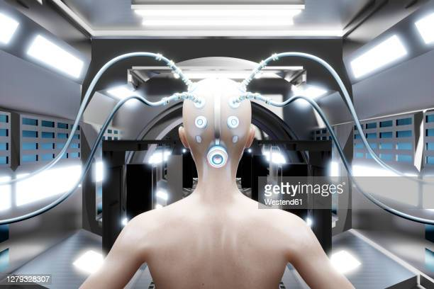3d rendered illustration, a human characters brain connected digitally and electronically with wires. - automated stock illustrations