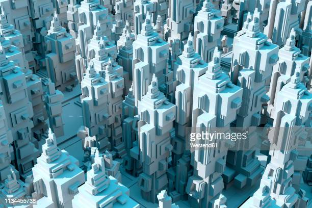 3D Rendered Illustration, Abstract conceptual render of an endless futuristic city