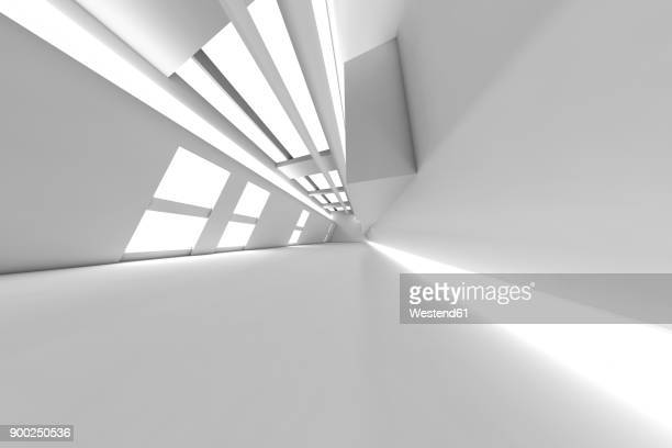 3d rendered illustration, architecture visualisation of a futuristic interior - copy space stock illustrations