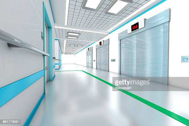 3D rendered illustration, architecture visualization of a modern hospital