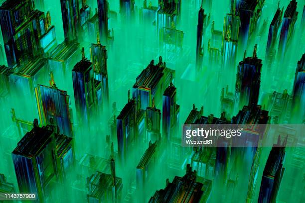 3D rendered illustration, Microchip architecture such as a CPU under the microscope