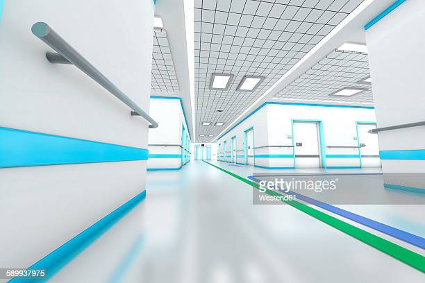 3d rendered illustration, modern hospital - corridor stock illustrations, clip art, cartoons, & icons