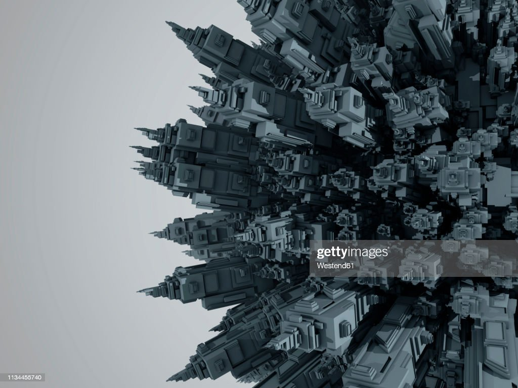 3D rendered Illustration of a cartoon planet filled entirely with urban buildings and skyscrapers : stock illustration