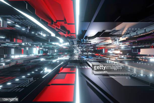 3d rendered illustration of black and red circuit board - artificial intelligence stock illustrations